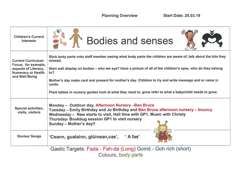 Gaelic Nursery Plan for week beg 25th March 19 | Ullapool Primary